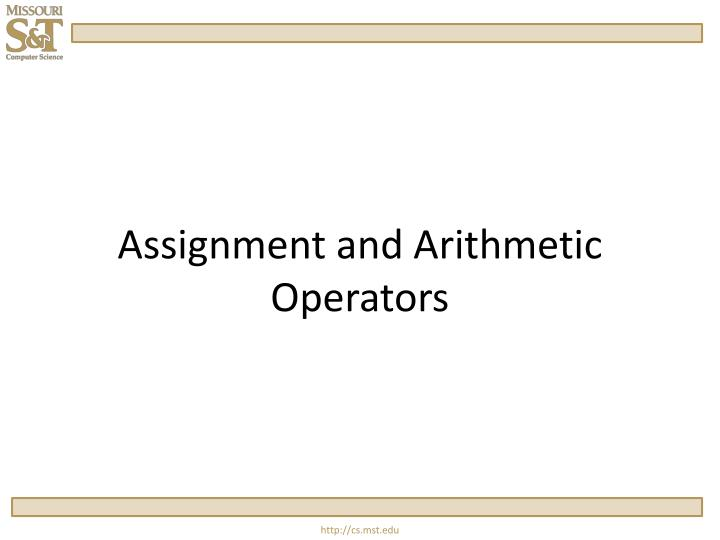 assignment and arithmetic operators n.