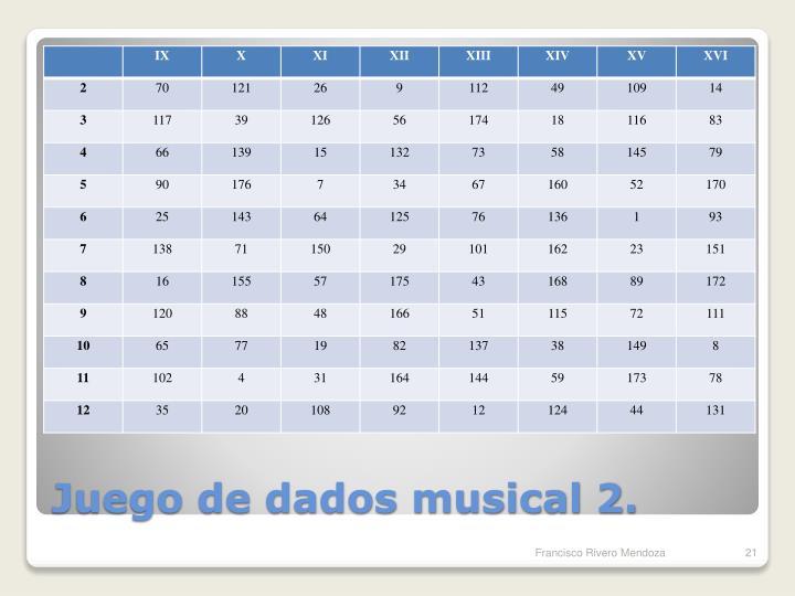 Juego de dados musical 2.