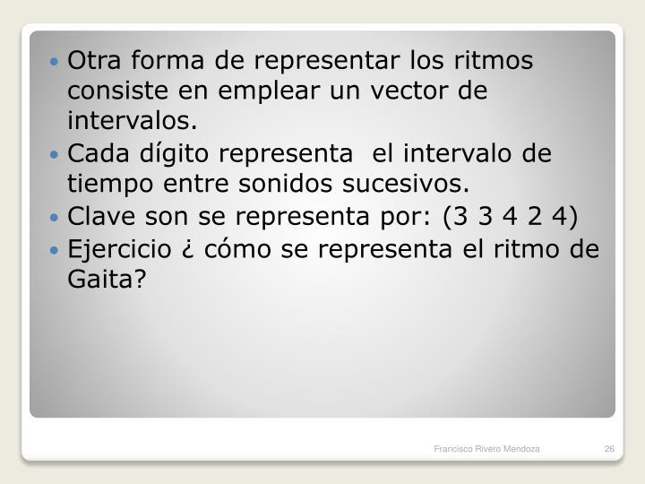 Otra forma de representar los ritmos consiste en emplear un vector de intervalos.