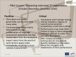 pilot leuven screening interview 1 st experiences october november december 2010