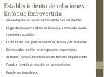 establecimiento de relaciones enfoque extrovertido