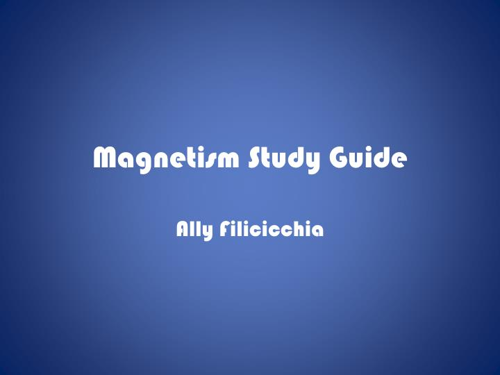 magnetism study guide n.