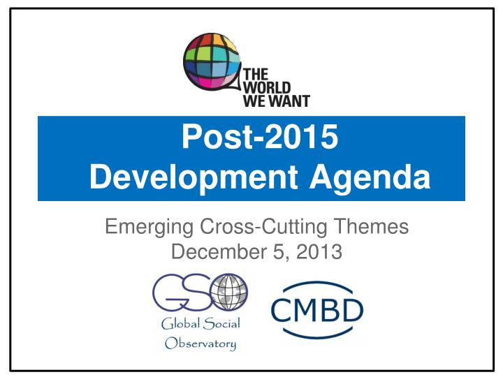 post 2015 development agenda n.