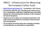 imecc infrastructure for measuring the european carbon cycle
