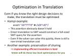 optimization in translation