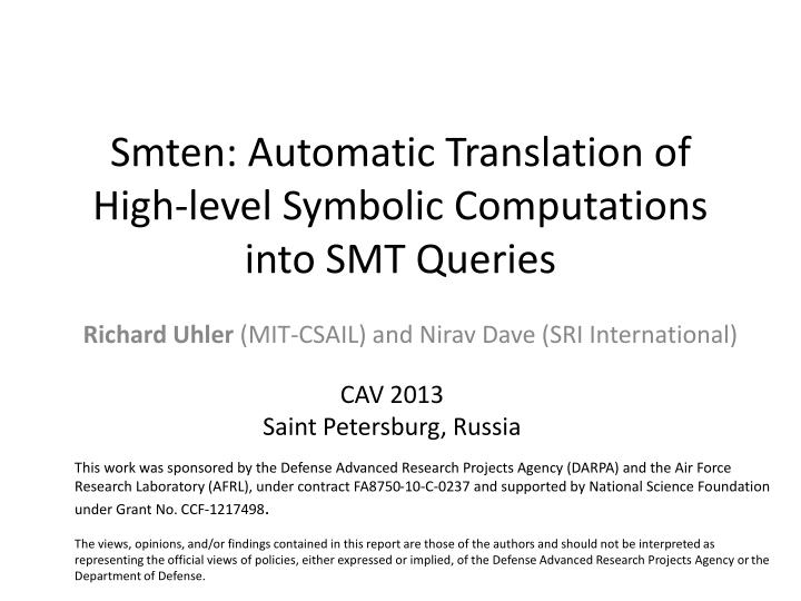 smten automatic translation of high level symbolic computations into smt queries n.