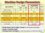 machine design parameters