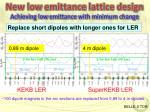 new low emittance lattice design achieving low emittance with minimum change