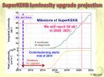 superkekb luminosity upgrade projection