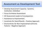 assessment as development tool