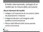 a livello internazionale sviluppo di un toolkit per la misura della corruzione