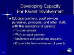 developing capacity for parent involvement