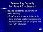developing capacity for parent involvement1