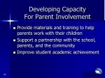 developing capacity for parent involvement2