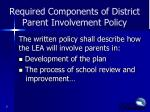 required components of district parent involvement policy