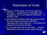 reservation of funds