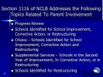 section 1116 of nclb addresses the following topics related to parent involvement