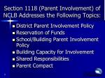 section 1118 parent involvement of nclb addresses the following topics