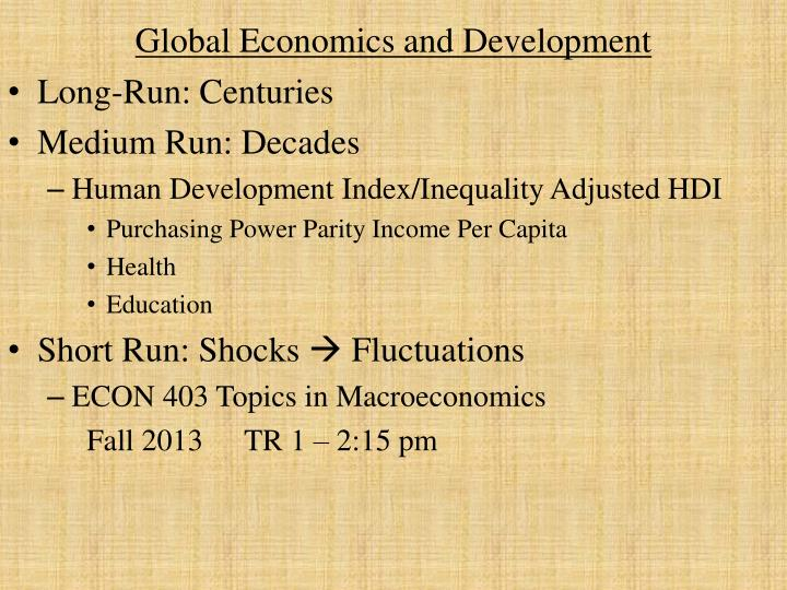 global economics and development n.