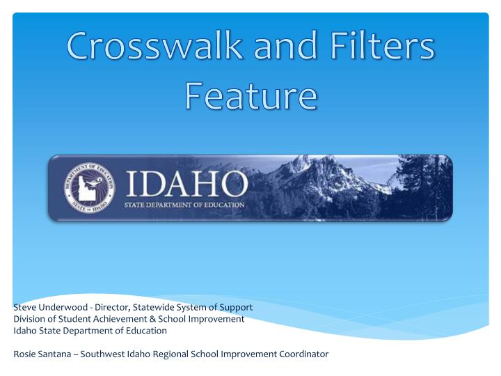 crosswalk and filters feature n.