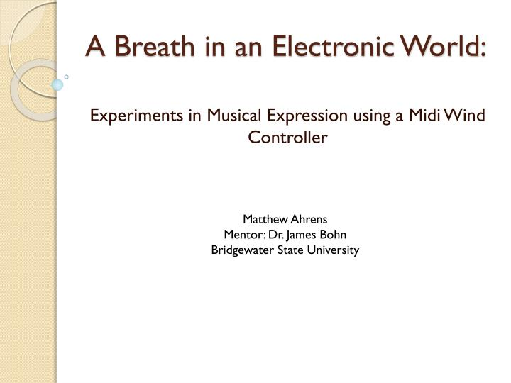 a breath in an electronic world n.