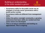 building an understanding of the skills needed to govern