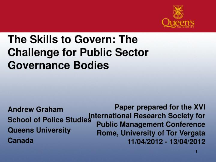 the skills to govern the challenge for public sector governance bodies n.