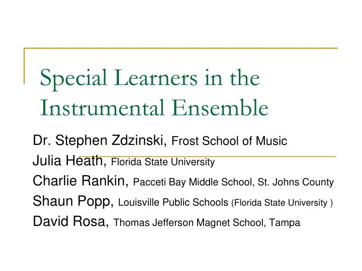 special learners in the instrumental ensemble n.