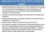 implications of the ideas of the article to smed