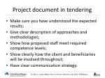 project document in tendering