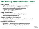 sns mercury related facilities cont d