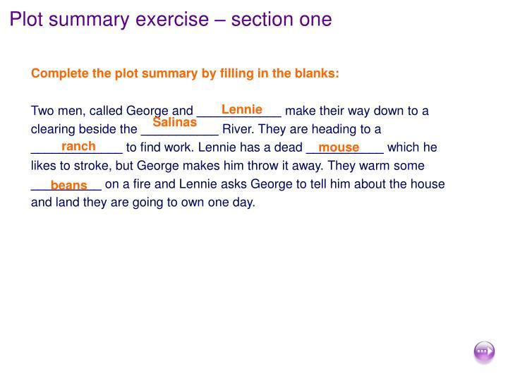 Plot summary exercise – section one