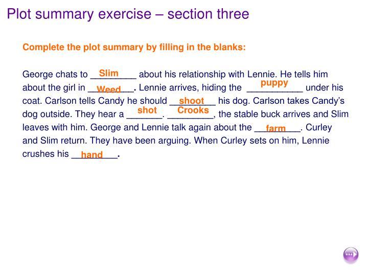 Plot summary exercise – section three