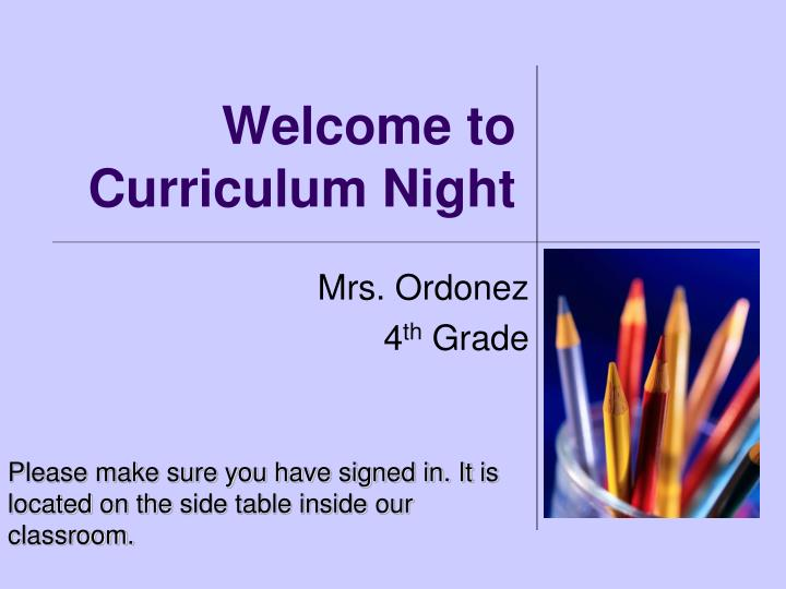 welcome to curriculum night n.