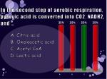 in the second step of aerobic respiration pyruvic acid is converted into co2 nadh2 and