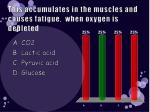 this accumulates in the muscles and causes fatigue when oxygen is depleted