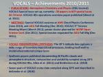 vocals achievements 2010 2011