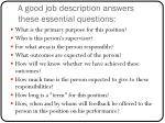 a good job description answers these essential questions