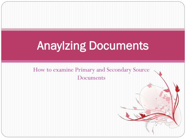 anaylzing documents n.