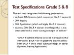 test specifications grade 5 8