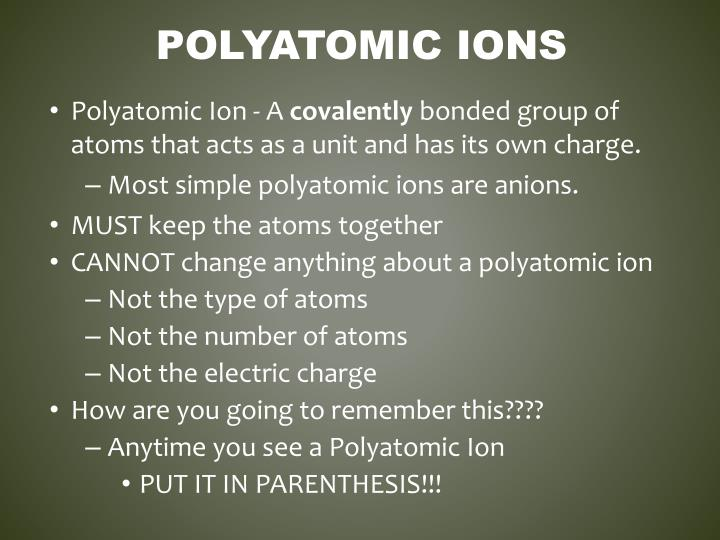 Polyatomic Ions