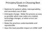 principles goals in choosing best practices