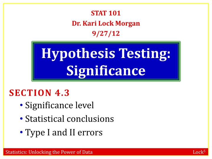 hypothesis testing significance n.
