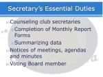 secretary s essential duties