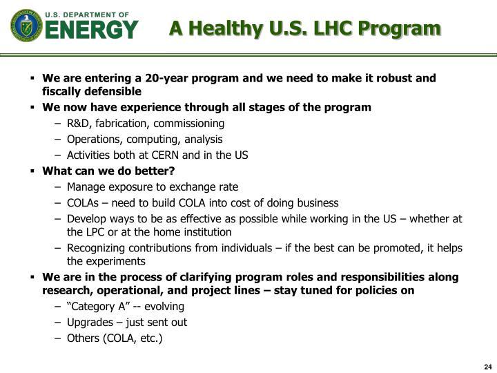 A Healthy U.S. LHC Program