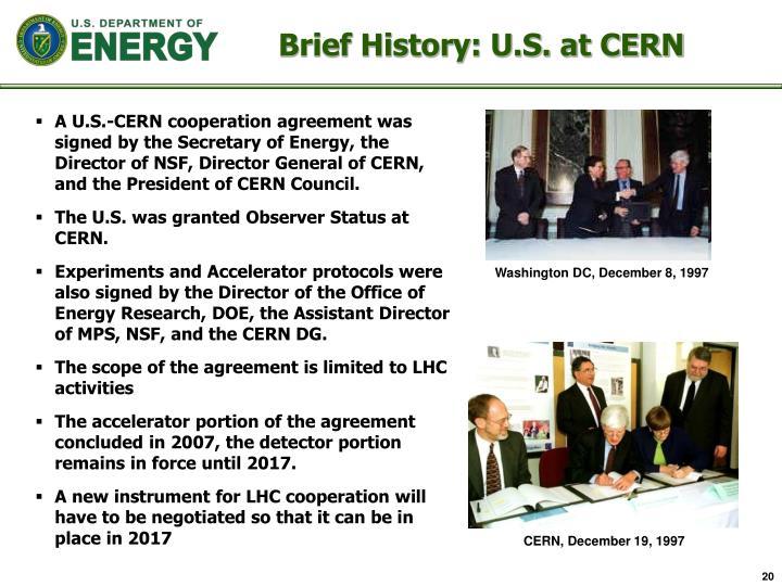 Brief History: U.S. at CERN