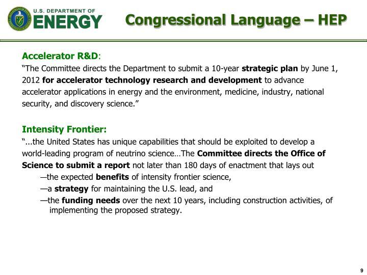 Congressional Language –