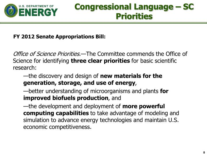 Congressional Language – SC Priorities