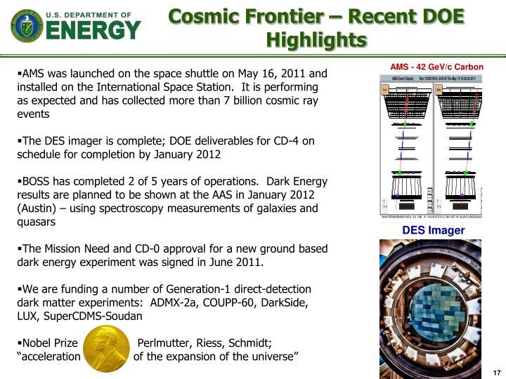Cosmic Frontier – Recent DOE Highlights