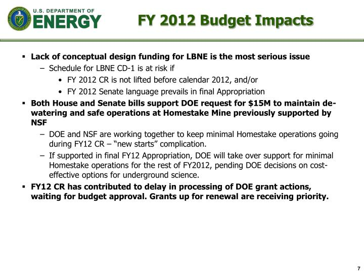 FY 2012 Budget Impacts